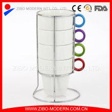 Taza de café apilable de cerámica, taza de cerámica apilada
