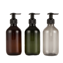 Unique High Quality Boston Round Amber Green Clear PET Plastic Bottle 250Ml 500Ml With Hair Shampoo Shower Gel Lotion Pump Spray