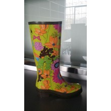 Colorful High Heel Rubber Rain Boots For Women