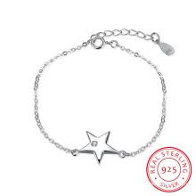 925 Pulsera de acero de ley con una estrella colgante Inser Zircon Mujer Simple Pulsera de plata