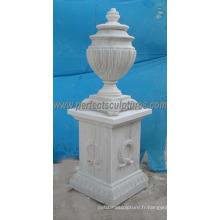 Vase à fleurs en marbre en pierre pour ornement de jardin (QFP305)