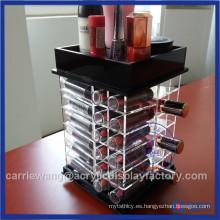 Soporte de acrílico giratorio negro de moda del lápiz labial con 48 PCS