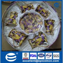 Vente de promotion de stock élégant européens de chêne à ossature fine thé set tasses avec des soucoupes