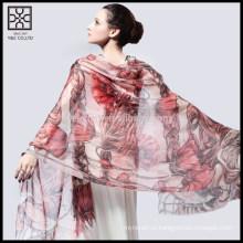 Мода цветочные печати шелковый леди шарф