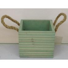 Binaural wooden striped decorative basin