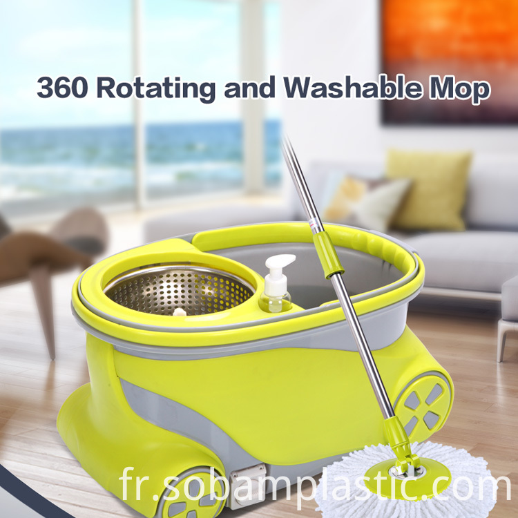 Walkable spin mop