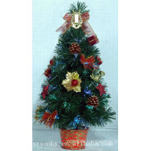 Holiday time Fiber Optic Christmas Tree with pinecone