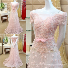 Robes De Soiree 2016 Longue Elegant Boat Neck Luxo Beading Crystal Evening Dress Cap Sleeve Flower Applique Vestido formal ML153