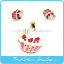 Wholesale Fashion Top Quality 316L Stainless Steel Jewelry Gold Plating Colorful Enamel Pendant And Earrings Sets for Women