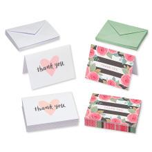 Saudações rosa preto e branco Floral e corações obrigado cartões e branco Envelopes convite cartão casamento