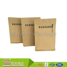 High Quality Manufacturers Custom Logo Packaging Biodegradable Block Bottom Kraft Paper Coffee Bags Valve