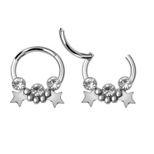 316L Surgical Steel Tribal Beads 3 Crystals Double Stars Segment Nose Clicker Rings