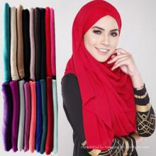 Тенденции элегантный сплошной Цвет мусульманский женщин напечатано темно-бордовый Джерси шарф с цветами дифф