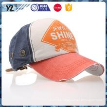 custom worn-out metal eyelet print logo baseball cap