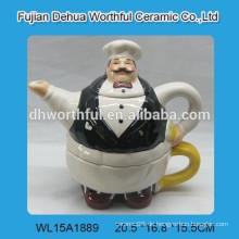 Keramik-Kaffeekanne mit Chef-Design für Küche
