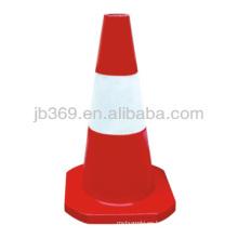 Cono de tráfico plástico rojo y blanco