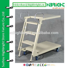 folding foldable and adjustable ladder with wheels