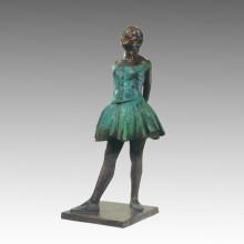 Große Figur Messing Statue Schulmädchen Bronze Garten Skulptur Tpls-003