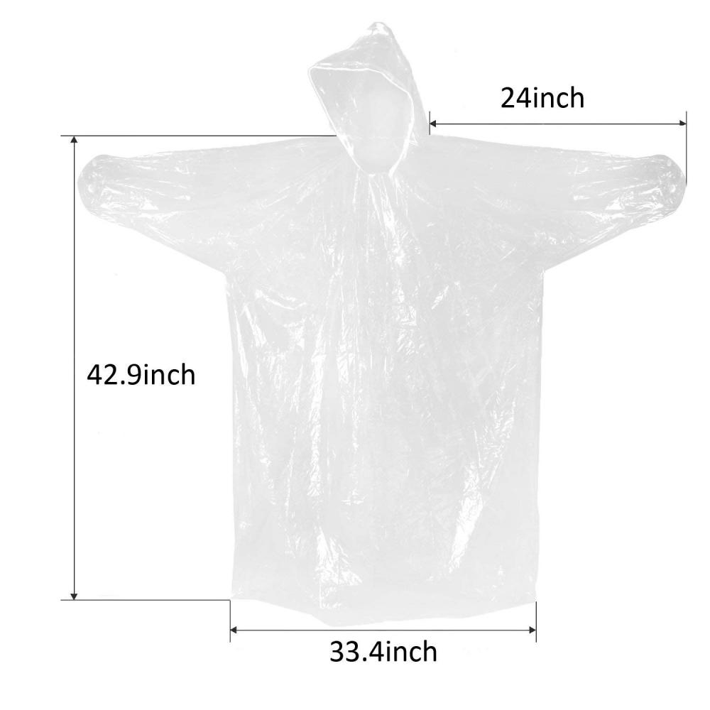 Disposable Clear Adult Ponchos with Hood