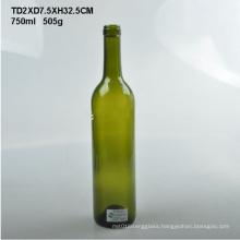 Round Shape 750ml Green Bordeaux Glass Wine Bottle