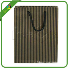 Custom Made Kraft Paper Bags with Stripes for Apparel