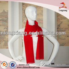 woven classic Red Plain brushed 100% silk cashmere scarf