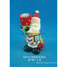 Hand-Painted Ceramic Santa Candle Stand