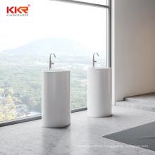 Freestanding modern acrylic solid surface round wash basin Bathroom free standing pedestal basin