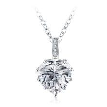 Argenté CZ Diamant Coeur Colliers Nuptiaux Mode (CNL0224-B)