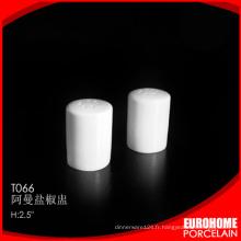 nouvelle arrivée durable vaisselle gros super blanc porcelaine sel et poivre shaker