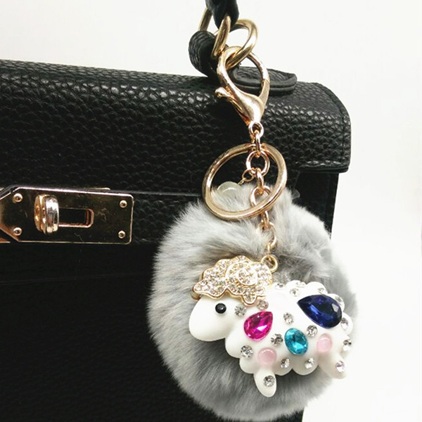 Colored Genuine Rabbit Fur Pom Pom Ball keychain