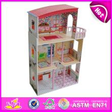 2014 nouveaux enfants mignons en bois maison de poupée jouet, populaire belle maison de poupée en bois enfants, usine de maison de poupée en bois bricolage mode W06A081