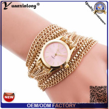 Yxl-417 lange Kette Frauen Wrap Around Uhr Weben Dame Armband Uhren Vogue Mode Quarz Damen Armbanduhr