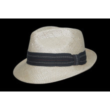 Sombrero de paja del cubo del vaquero del ocio del verano 2017 con la correa de la flexión (FS0001)