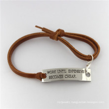 Wholesale Handmade Engraving Letter Bracelet Material Leather
