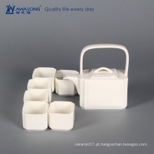 Plain White Square Design elemento de cultura chinesa Antique China Tea Set, cerâmica fina em miniatura Tea Sets