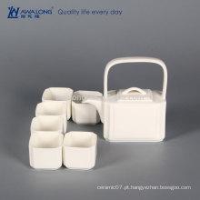 Plain White Square Design elemento de cultura chinesa Antique China Tea Set, cerâmica fina em miniatura Tea Sets