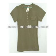 13ST1003 Mädchen Baumwolle Rundhalsausschnitt komprimierte T-Shirt