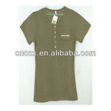 13ST1003 algodão liso em torno do pescoço da menina camiseta compactada