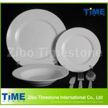 Juego de cenas blancas de porcelana fina 32PC con juego de cubiertos (WD-004)