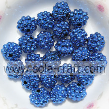 New Design Handmade Blue Color Acrylic Metallic Beads