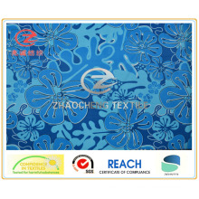 Plain Micro Fiber Blue Flower Style Printing, Garment Fabric (ZCGP048)