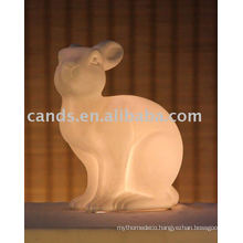 Animal Rabbit Shape Ceramic Decorative Battery Lamp