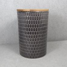Geprägtes Keramik-Aufbewahrungsglas mit Bambusdeckel