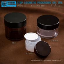 KJ-A série 5-100g PETG material espessura parede redondo frasco plástico transparente com tampas
