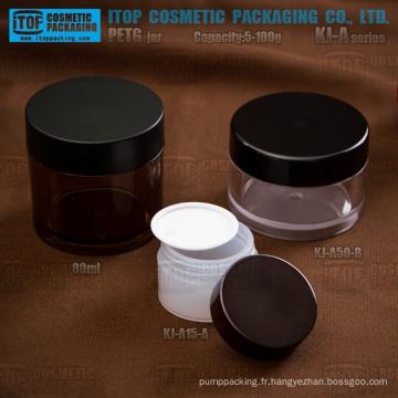 KJ-A Series 5-100g PETG matériel mur épais rond pot en plastique transparent avec couvercles