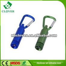 12000-15000MCD carabiner de alumínio mini levou lanterna