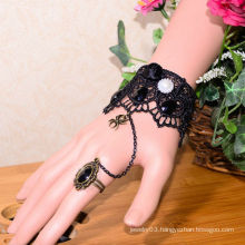 Facotry charms bracelet accesseries wholesale FC-39 black lace alloy white diamond steel time bracelet