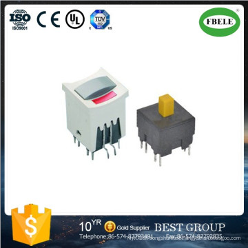 Small Push Button Switch, Mini Push Button Switch with LED, with Lamp Button Switch 15.1 * 15.1 Square with Lamp Self-Locking Reset Button Switch