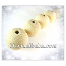 Деревянный карниз, натуральный круглый необработанный простой деревянный шарик с отверстием